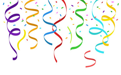 Hanging colorful streamers and falling confetti on white background - vector illustration