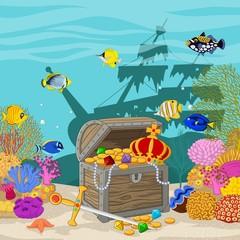 Treasure chest in underwater background
