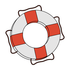 color image cartoon inflatable rings for rescue vector illustration
