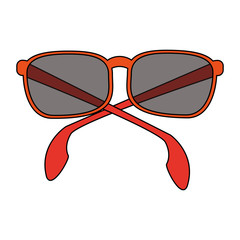 color image cartoon sunglasses with red contour vector illustration