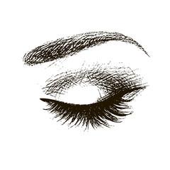 Beautiful closed female eye