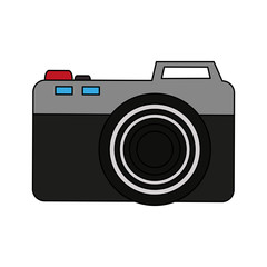 color image cartoon analog camera with flash vector illustration