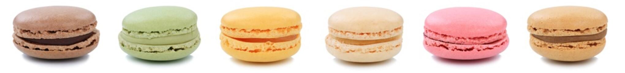 Ingelijste posters Macarons Macarons Macaroons Kekse Sammlung Nachtisch Dessert aus Frankreich in einer Reihe Freisteller