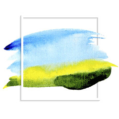 Watercolor background blue sky green field