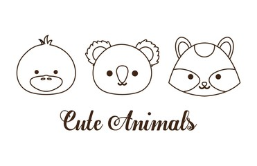 cute animals icon over white background. vector illustration