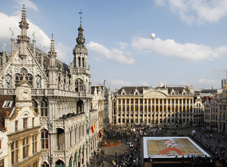 A more than 500 square meter comic strip board showing Tintin's rocket displayed at Brussels' Grand Place