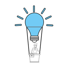 color silhouette image cartoon ligth bulb hot air balloon with executive man inside vector illustration