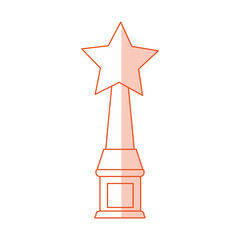 red silhouette shading image trophy with symbol star vector illustration
