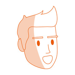 red silhouette shading image cartoon side view face man with hairstyle and smiling vector illustration