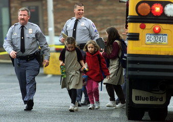 PENNSYLVANIA SCHOOL CHILDREN EXIT BUS AFTER KIDNAPPING.