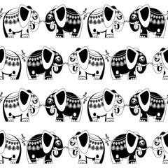 Decorated blue and pink elephants. Seamless background pattern. Black and white.