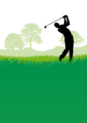 Golf club competition tournament background. Vector poster with man playing game on green