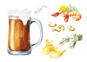 Beer and snacks set, watercolor