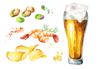 Beer and snacks set. Watercolor