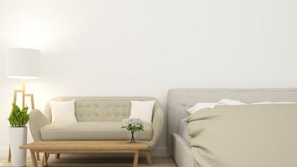 The Interior Bedroom in condominium and background decoration  -3D Rendering