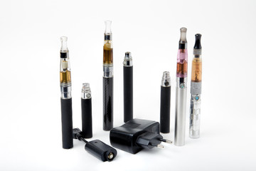 Electronic cigarettes with charger on white background