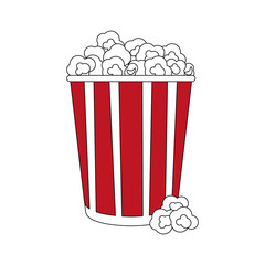 color silhouette image popcorn in cardboard vector illustration