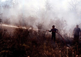 FIREFIGHTER TACKLES FOREST FIRE BURNING IN SOUTHERN CYPRUS.