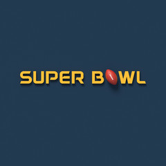 COLOR PHOTO OF 3D RENDERING WORDS 'SUPER BOWL' AND RUGBY BALL ON PLAIN BACKGROUND
