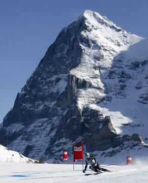 Miller of the U.S. takes a curve in front of the Eiger mountain to clock the fastest time of the third practice of the men's Alpine skiing World Cup downhill race at the Lauberhorn in Wengen