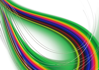 Abstract rainbow curved convex intersecting waves on green basis covered with thin stripes
