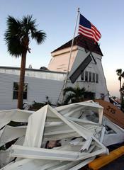 Flag stands in Punta Gorda after hurricane Charley in Florida.