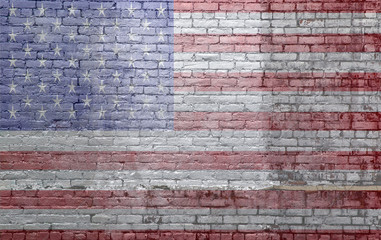 flag on old dirty brick wall