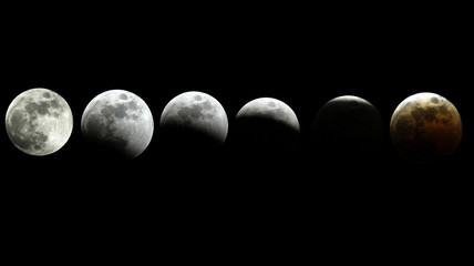 The moon is seen in six different pictures transitioning from full to a state of total eclipse over ...