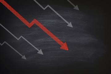 Decline in stocks on blackboard Wall mural