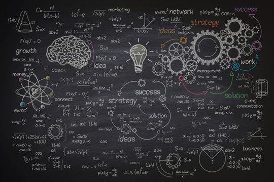 Big formula on blackboard