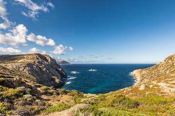Rocky coastline of west coast of Corsica at Revellata near Calvi
