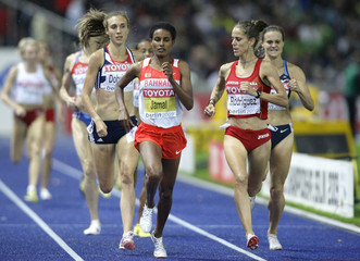 Jamal of Bahrain wins her women's 1500 meters semi-final round heat during the world athletics championships at the Olympic stadium in Berlin