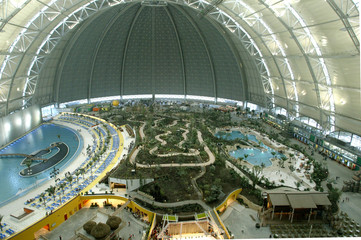 A panoramic view shows newly opened Tropical Islands holiday resort south of Berlin.