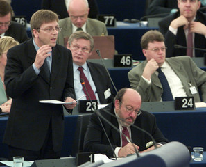 BELGIAN PRIME MINISTER GUY VERHOFSTADT ADRESSES THE EUROPEAN PARLIAMENT IN STRASBOURG.