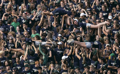 Notre Dame fans celebrate touchdown against Penn State in South Bend