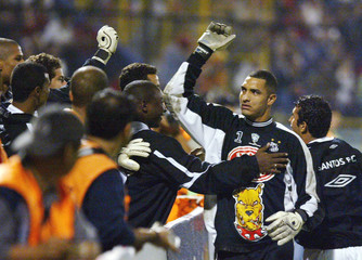 BRAZILIAN COSTA OF SANTOS CELEBRATES A GOAL AGAINST INDEPENDIENTEMEDELLIN IN COPA LIBERTADORES MATCH.