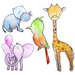 Set of hand drawn watercolor animals.