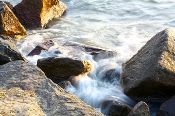 Sea wave on the stones