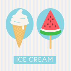 Summer time card. Watermelon popsicle and ice cream icons. Vector illustration.