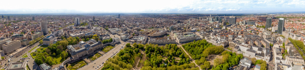 Aerial Panoramic City View of the Royal Palace of Brussels ( Palais de Bruxelles ) and the...