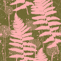 Vector seamless pattern with hand drawn floral elements - fern leaves, stylized flowers and grasses. Pink florals on dark green with worn out texture background.