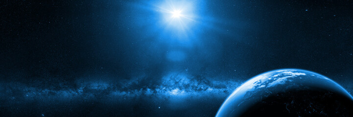 planet Earth in front of the bright Milky Way galaxy and the Sun