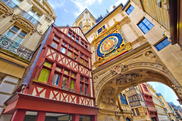 Rouen, rue du gros-horloge, Normandie Fototapete