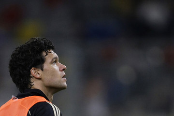 Ballack looks up during a public training session of the German national soccer team in Duesseldorf