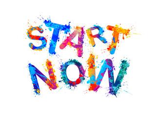 Start Now. Motivation inscription. Vector