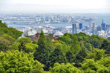 Kobe Port Island and Kobe Airport in Osaka Bay seen from Nunobiki Herb Garden on Mount Rokko in Kobe, Japan
