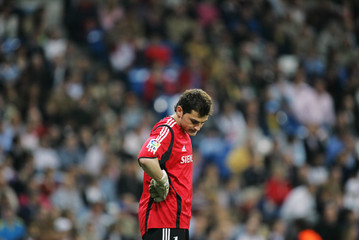 Real Madrid's goalkeeper Casillas reacts during Spanish first division soccer match in Madrid