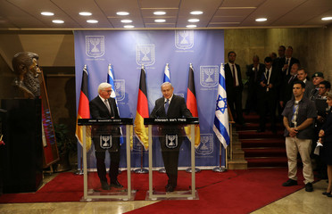 Israel Prime Minister Benjamin Netanyahu (R) speaks during a joint press conference with German President Frank-Walter Steinmeier in Jerusalem