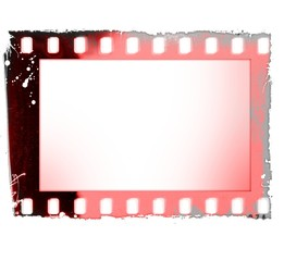 Grunge red film strip frame isolated on white.