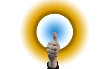 Thumbs up for world or planet sun